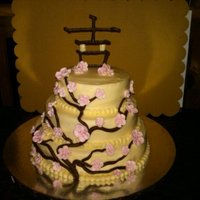 Cherry Blossom Cake The cherry blossoms (which are really from an apple blossom pattern) are made of royal icing, the branches are modeling chocolate and the...