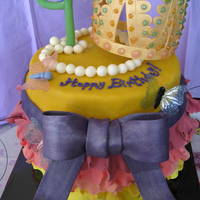 "Fancy Nancy Cake Fancy Nancy birthday cake for a 4 year-old...Gumpaste frills, bow, and tiara...gelatin butterfly wings, and fondant ""4"" and pearl..."