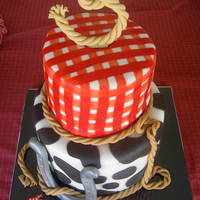 Cowgirl Themed Cake Cowgirl themed cake for a spunky little girl :) Colors, prints, and font inspired from invite design.Chocolate fudge cake with PB cup...