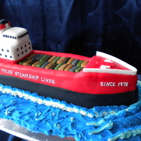 3D Ship Cake 3D carved ship cake for a retirement party.