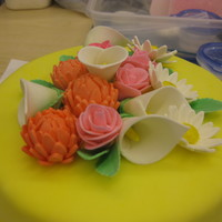 First Time Flowers My first cake using gum paste and making the flowers!