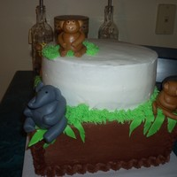 Jungle Baby Shower  Chocolate and vanilla buttercream with MMF animals. Mommy wanted strawberry, chocolate, and fudge marble cake which made for a strange...