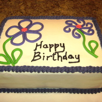 Purple Birthday Vanilla Cake with vanilla icing 2-layer 9x13 decorated with MMF quilled flowers