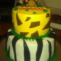 Zoo Themed Cake This cake was my first time make chocolate fondant and a monkey. or bear, whichever u see it as.lol