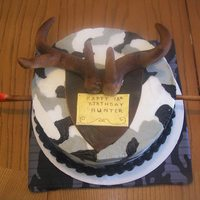 Camo Hunter's Cake Winter buttercream camo with deer horns and an arrow through the cake. For a co-worker's son's birthday. Took his first deer with...
