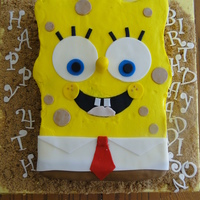 Spongebob Cake SpongeBob done for a friend's daughter's birthday. Cake is a white almond sour cream cake, covered with buttercream and fondant...