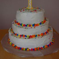 Dot Birthday Cake   I made this cake for my son's 1st birthday.