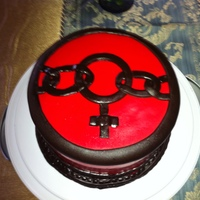 Womens Day Cake Red and Dark Chocolate fondant cake.