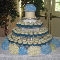 Wedding Cupcake Tree Hydrangea flowers :)