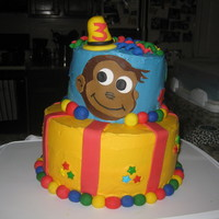 Curious George Birthday Cake Curious George birthday cake. fondant decorations.