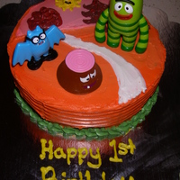 Yo Gabba Gabba Brobee Land Cake  I made this little cake for my sons first birthday. It turned out pretty good but it would have been better if I did get really, terribly...
