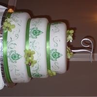Green Wedding Cake  A classic round wedding cake made for a friend, and tiers are 10, 12, and 14. All of the cake was scratch vanilla, and then the 12 had...