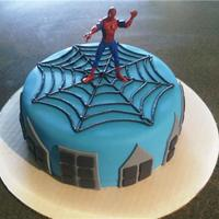 Spiderman Cake   Cake inspired by fellow CCer, tinytammi. Thanks!9 inch, chocolate cake with peanut butter buttercream. Sorry for the blurry pic.
