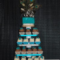 Peacock Feather Cupcake Tower