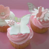 Butterfly Baby Shower Cupcakes Vanilla cupcakes with buttercream frosting. All decorations are fondant.