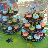 Toy Story Cupcakes   French Vanilla cupcakes topped with a swirl of italian merengue icing