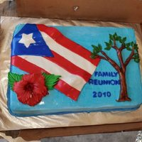 Family Reunion Cake   coconut cake with pineapple filling, coconut buttercream icing, flag, Puertorican red hibiscus and tree made of fondant.
