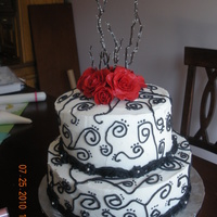 Kara's Shower Cake My sister is having a black and white weddding with a touch of red. This was my first attempt at scrolling. I think I would make the...