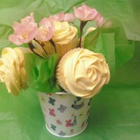 Flower Bouquet Cupcakes are lemon with vanilla buttercream.