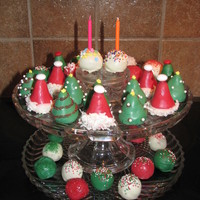 Cake Balls This was for friends whose birthday is a few days before Christmas. That is why I added the two cake balls with the candles. Christmas cake...