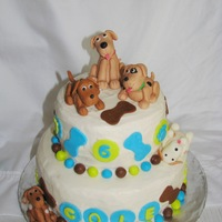 Puppy Cake WASC cake with buttercream icing. Puppies and decorations are MMF. My first MMF puppies. Followed directions by aine2. Inspirations:...