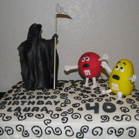 40Th Birthday This was for my sister's 40th bday. She has always loved m&ms, so this is what we came up with. BC frosting, grim reaper is...