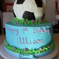 Soccer Ball Cake For a friend's daughter who loves soccer and the color blue. I wanted it to be girly and sporty! It is all chocolate cake with...