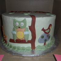 Baby Shower Cake With An Owl, Deer, And Bird This was a baby shower cake I did to match the nursery theme. Triple Chocolate Cake with BC filling and BC with fondant accents.