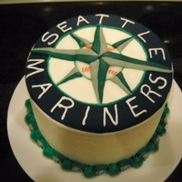 Seattle Mariners Cake WASC cake with raspberry and mocha fudge filling, bs and mmf accents.