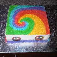 Tye Dye Cake This was a request for a teen tye dye theme party. It also included tye dye and happy face cupcakes. Cake is marble with cream cheese...