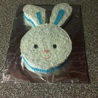 Easter Bunny Carrot cake with cream cheese icing and shredded coconut