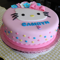 "Hello Kitty Cake 10"" round, fondant Hello Kitty themed cake"