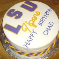 Lsu Birthday Cake This was a birthday cake that I just finished. This is a two layer buttercream cake with cream cheese filling. Decorations are done in...