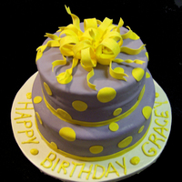 Purple & Yellow Birthday Cake Two Tier Birthday Cake. All Decorations were with fondant and Gumpaste.