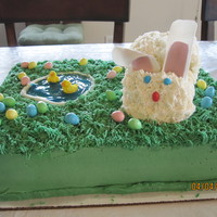 Easter Fun This is a half choc sheet cake filled with strawberries and choc ganache covered in butter cream. The rabbit is vanilla cake covered in...