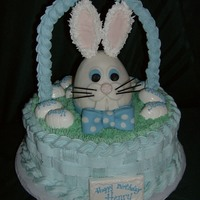 Bunny Birthday Cake Butter cream frosting with royal icing handle. The eggs are made with white chocolate. Each child attending the party has his or her name...