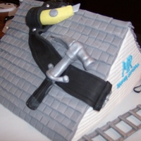 "Birthday Cake For Roofer I made this cake for a gentlemen who owns his own roofing company. The ""tiles"" took a bit of time. The roof, tools, nails, belt..."