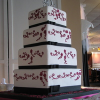 Hot Pink Scroll Wedding Cake
