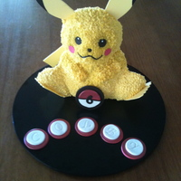 Pikachu   Chocolate cake with buttercream and fondant accents.