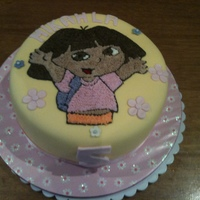 Dora   Chocolate Cake covered in buttercream and fondant. Doras face made with buttercream.