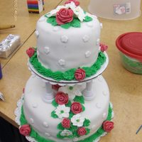 Wilton Cake Class 3 Fondant roses, royal icing lilies, butter cream leaves and border