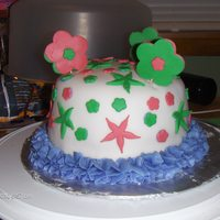 Birthday Cake Fondant covered, fondant decorations butter cream border