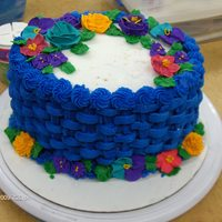 Blue Basket Weave Flowers are butter cream and royal icing