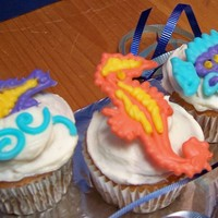 Sea Life Cupcakes For an ocean-themed class party - chocolate piped sea life.