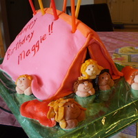 Camp Out Cake For a camping themed sleepover I made a big, pink tent, bursting at the seams with the campers. Each camper is a fondant model of one of...
