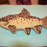 My Brown Trout Cake I made this cake out of all buttercream. It is resembling a brown trout!