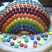 Rainbow Skittle And Mnm Cake Made with all Skittles and MnMs. Hard to eat but great to look at!