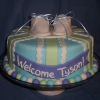Baby Shower Tyson vanilla bean WASC, white chocolate BC, white chocolate fondant, GP booties