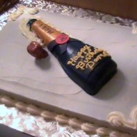 Moet Bottle Birthday This was the scariest cake I've ever done, but not bad if I do say so myself. :-) The bottle is rkt covered in fondant and hand...