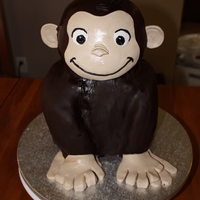 Curious George not my best cake, but I learned a lot. The whole body is chocolate truffle cake, alternating 6 layers of raspberry filling and choc...